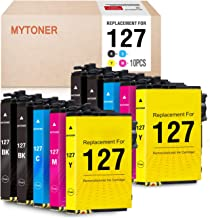 MYTONER Remanufactured Ink Cartridge Replacement for Epson 127 T127 for Workforce WF-3520 WF-3530 WF-3540 WF-7520 645 545 630 840 845 Stylus NX625 (4 Black, 2 Cyan Magenta Yellow, 10-Pack)