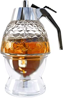 Honey Dispenser With Stand – Plastic Honey Dispenser - Modern Honey Syrup Dispenser - No Drip Honey Dispenser – 8 oz Reusable Warm Honey Jar Dispenser - No Mess Bee Honey Holder Dispenser