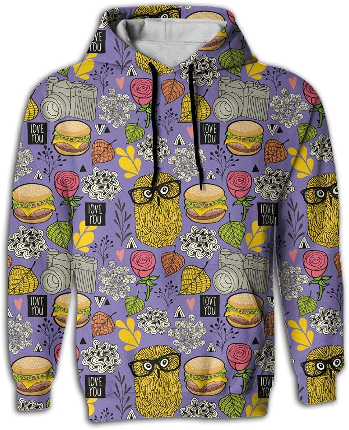 Wkylt Print Big Pockets Suit Hamburger and Hipster Owl Glass Graphic Hoodies