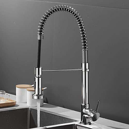 """wholesale Kitchen outlet sale Faucet with Sprayer 2 Spray Modes, 360° Swiveling Pull Down Single Handle Solid Brass Kitchen Sink Faucet Chrome Finished Easy to Clean Overall 2021 Height 16"""" outlet sale"""