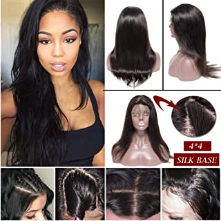 Silk Top Full Lace Wig Remy Human Hair With Pre-Plucked Hairline Silk Base Lace Front Wig With Baby Hair Free Part 130% Density Body Wave Straight Deep Wave For Black Women(18