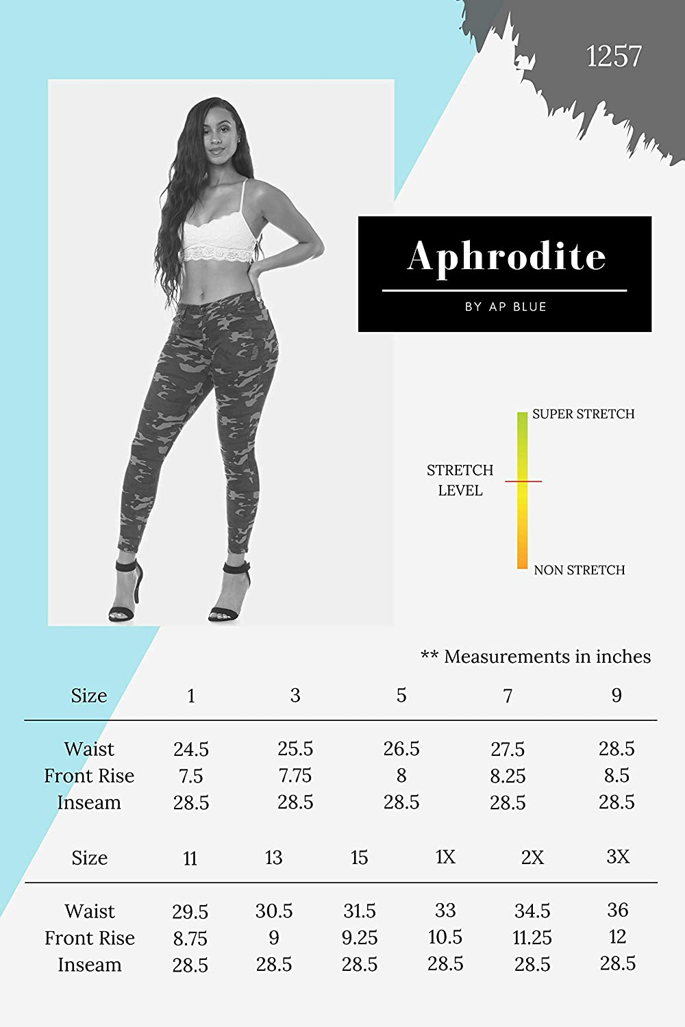 Aphrodite Mid Rise Jeans for Women - Casual Skinny Mid Waisted Denim Pants Jeans