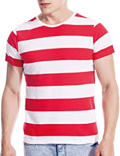 Mens Striped Shirt Basic Even Stripe Tee Basic Wide T Shirt Top Cotton