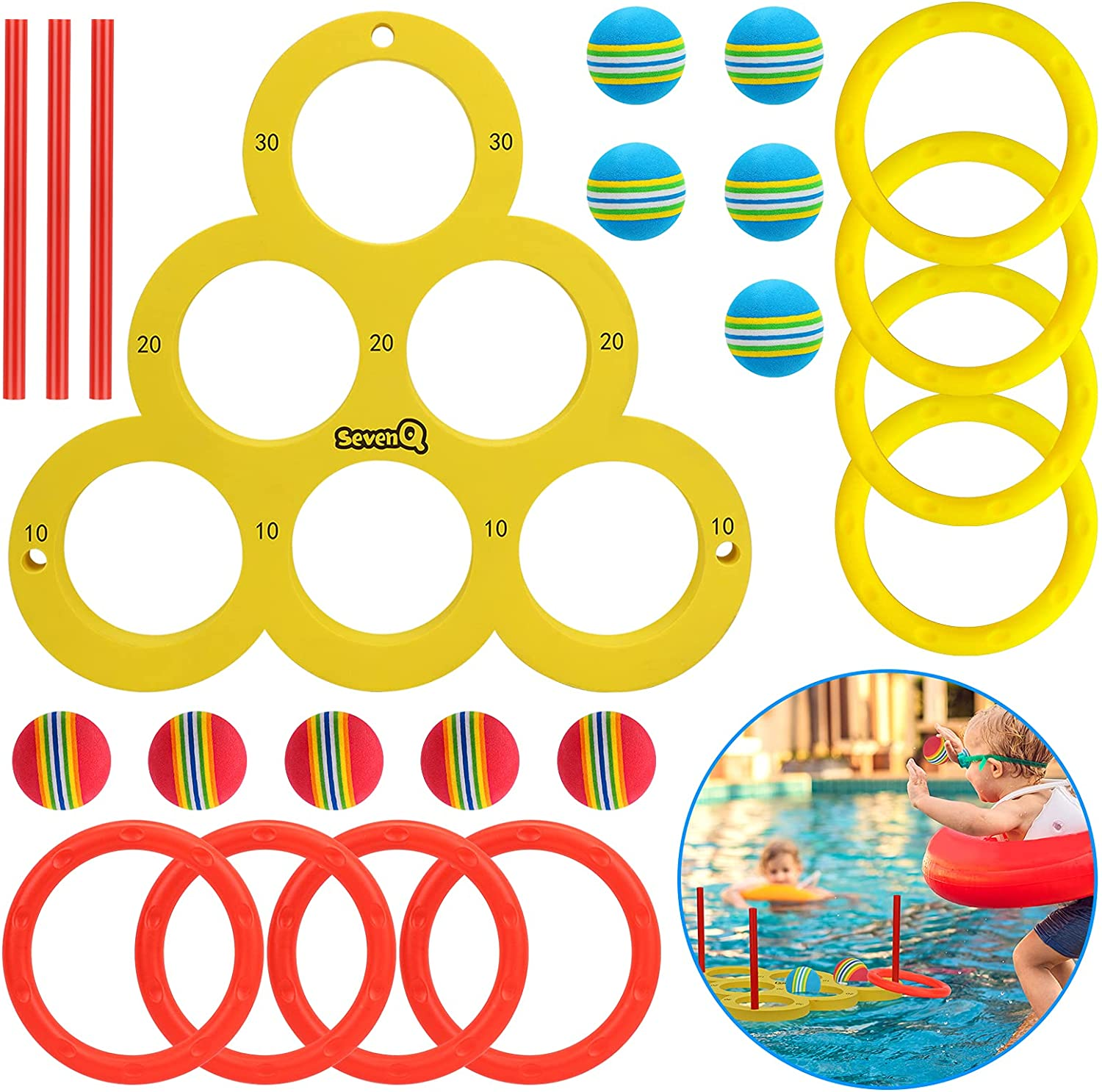 gift SevenQ Pool ! Super beauty product restock quality top! Toys Ring Toss Swimming Game f Party