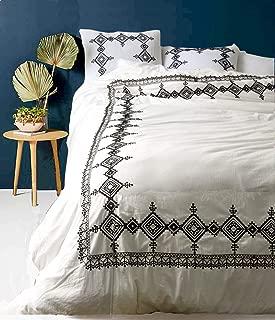 Flber White Duvet Cover Geo Embroidered Comforter Modern Bedding Navy Blue,Full Queen, 86inx90in