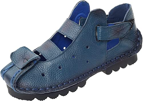 ZHRUI Nouveau Nouveau Nouveau Sandales d'été pour Femmes Vintage Chaussures en Cuir véritable à la Main (Couleuré   Style 2-bleu, Taille   6.5 UK) 7a0