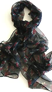 Silk Salon Oblong 100% Silk Scarf Belt Hand Rolled Edges Flower Black A658