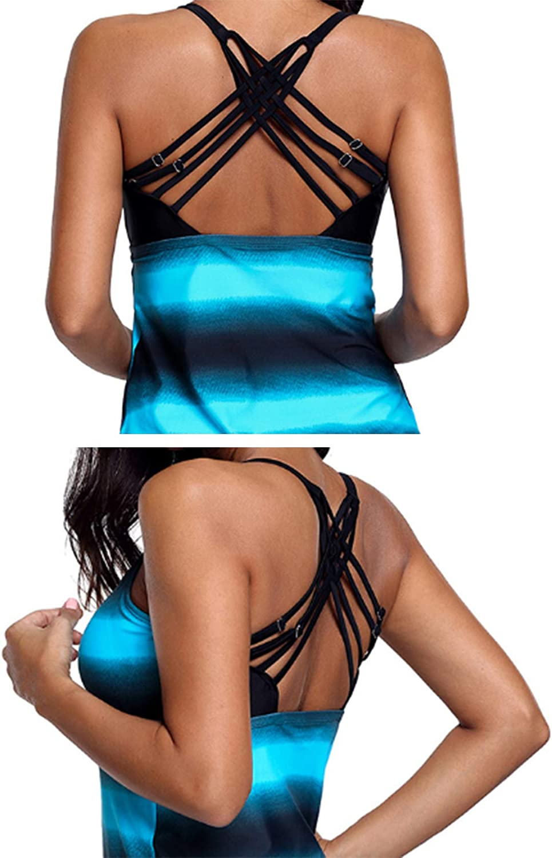 Jueshanzj Women's Strappy Racerback U-Neck Tankini Swimwear Set
