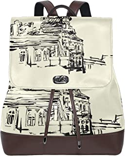 YCHY Custom Made Backpack Sketch Hand Drawing Artistic Picture Kiev Lightweight Travel PU leather Bag Oversize Student School Bookbag Daypack Hiking Knapsack