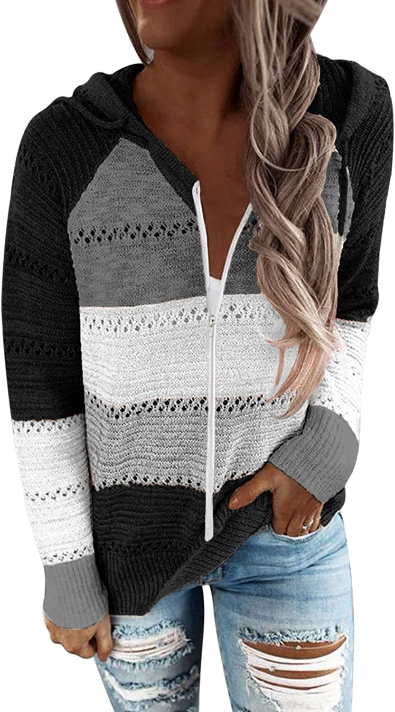Womens Zip Up Color Block Hoodie Sweaters Fashion Casual Long Sleeve Drawstring Sweatshirts