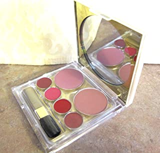 Estee Lauder Deluxe Palette for Lips and Cheeks with Blush All Day in Desert and Plum and Pure Color Long Lasting Lipstick in Rose Tea, Candy, Red Lacquer, and Tiger Eye