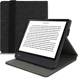 kwmobile Cover for Kobo Forma - PU Leather e-Reader Case with Built-in Hand Strap and Stand - Anthracite Grey 49520.01
