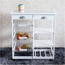 Six bears Wooden Rolling Kitchen & Dining Room Cart Storage Trolley Utility Cart with 2-Drawer&3-Basket&2 Storage Rows&1 W...