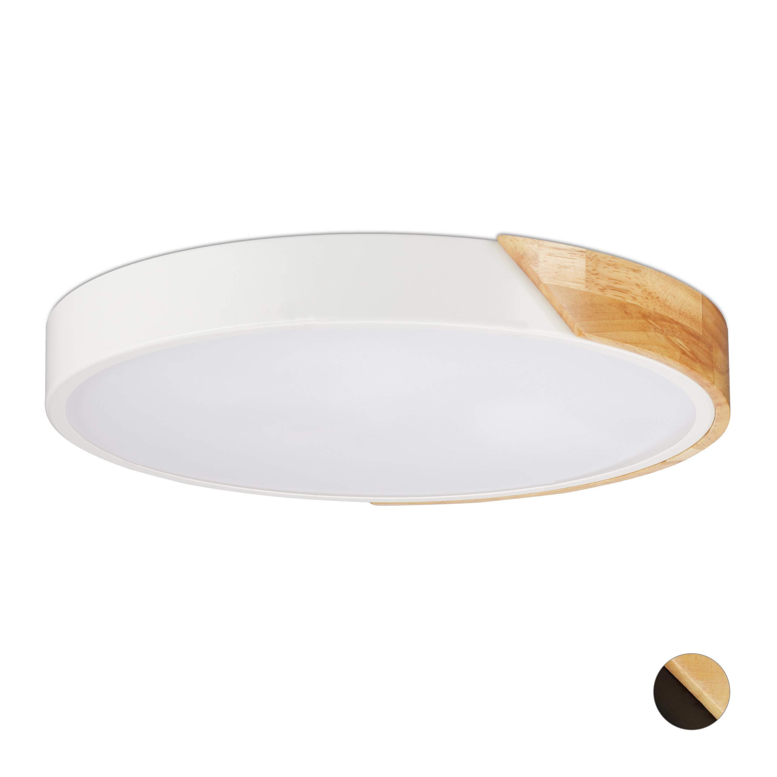 Relaxdays 吊灯,24 瓦 LED 走廊,圆形木和金属照明灯具 白色 L 10025171_49