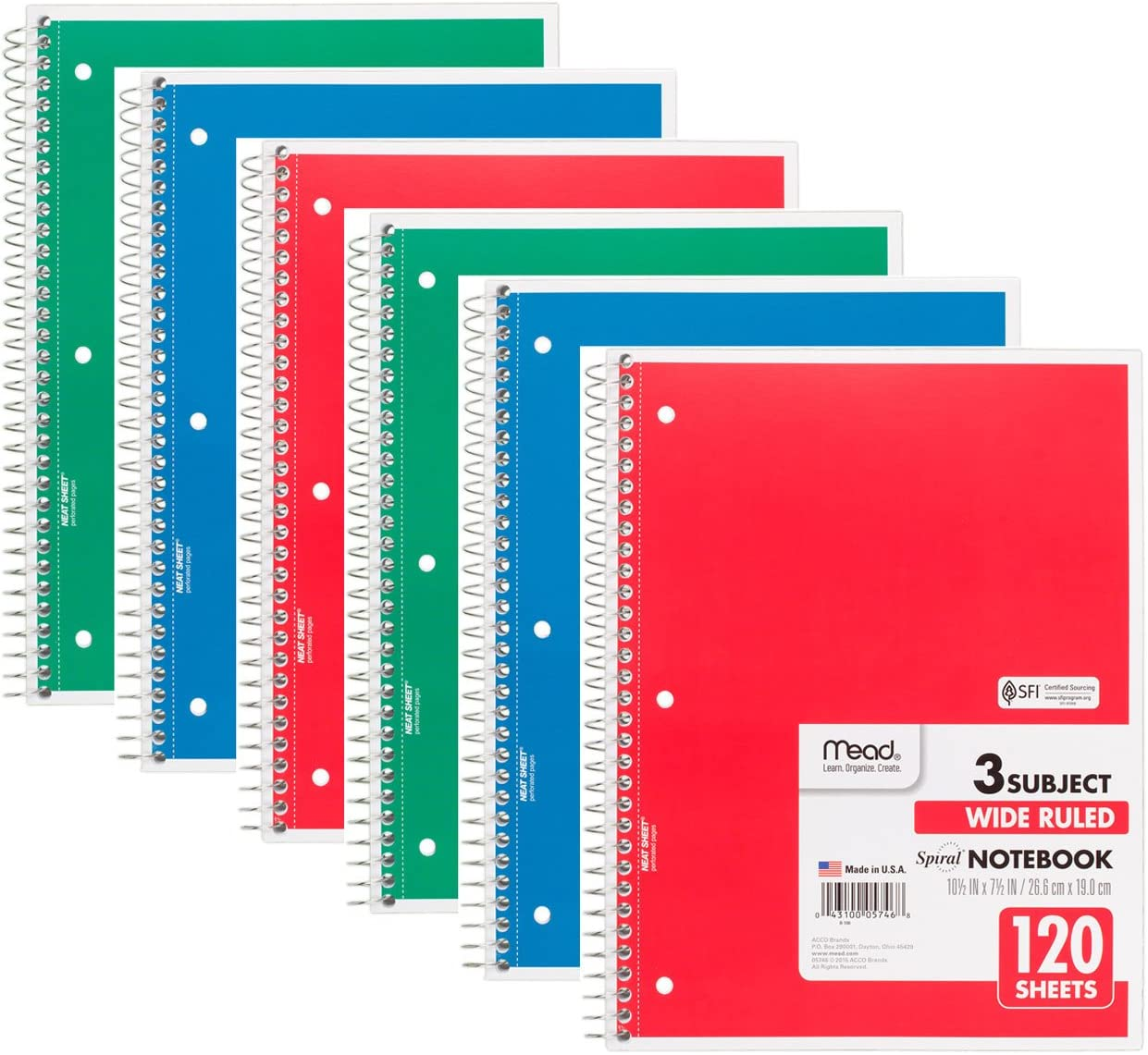 Mead 75698 Excellence Spiral gift Notebook Wide Ruled Sheets Subject 1 3 120