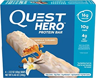 Quest Hero Protein Bar Vanilla Caramel 8.46oz(2.12ozx4), pack of 1