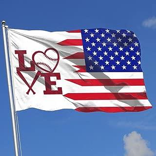 JQDAPaflag Love Heart Baseball Clipart Breeze Flag 3 X 5-100% Polyester Single Layer Translucent Flags 90 X 150CM - Banner 3' X 5' Ft