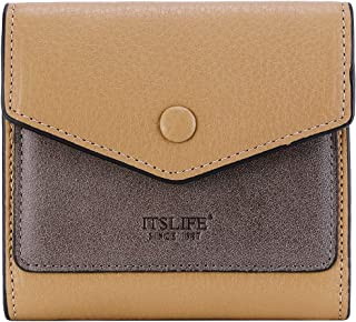Women's Small Leather Wallet RFID Card Holder Mini Bifold Ladies Flat Pocket Purse (Natural Apricot & Waxed Dark Apricot)