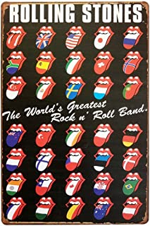 ERLOOD Rolling Stones Tin Sign Wall Retro Metal Bar Pub Poster Metal 12 X 8