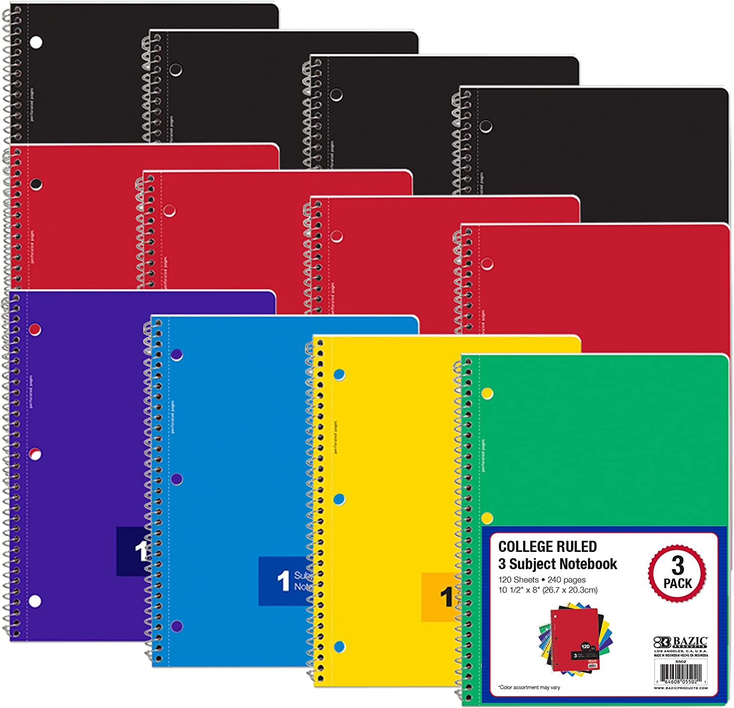 BAZIC Notebook Fixed price supreme for sale College Ruled 3 Subject Spiral 120 Sheets
