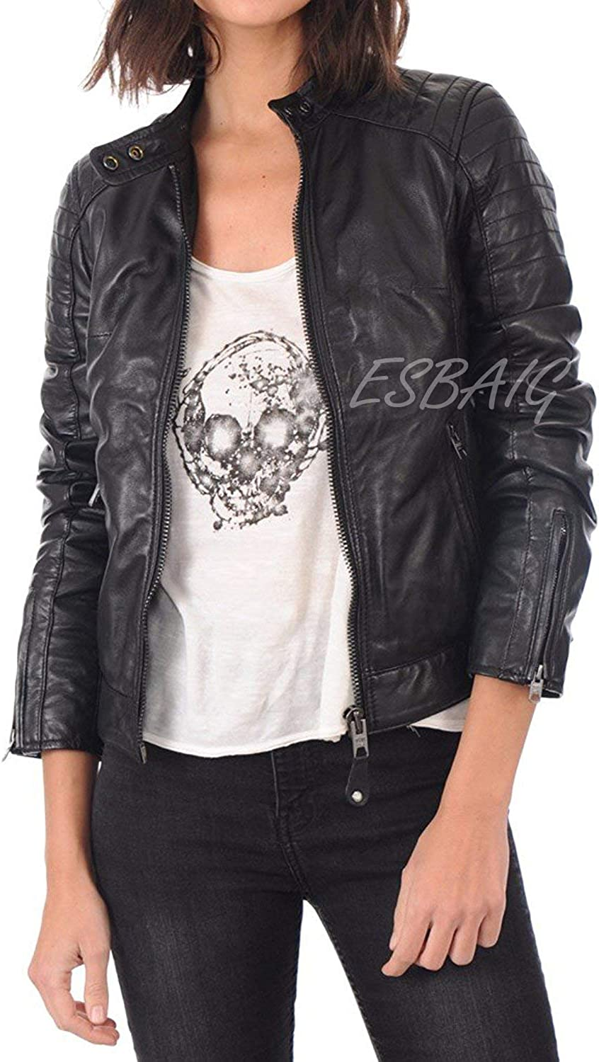 ESBAIG Womens Leather Jackets Stylish Motorcycle Bomber Biker Real Lambskin Leather Jacket for Women 506