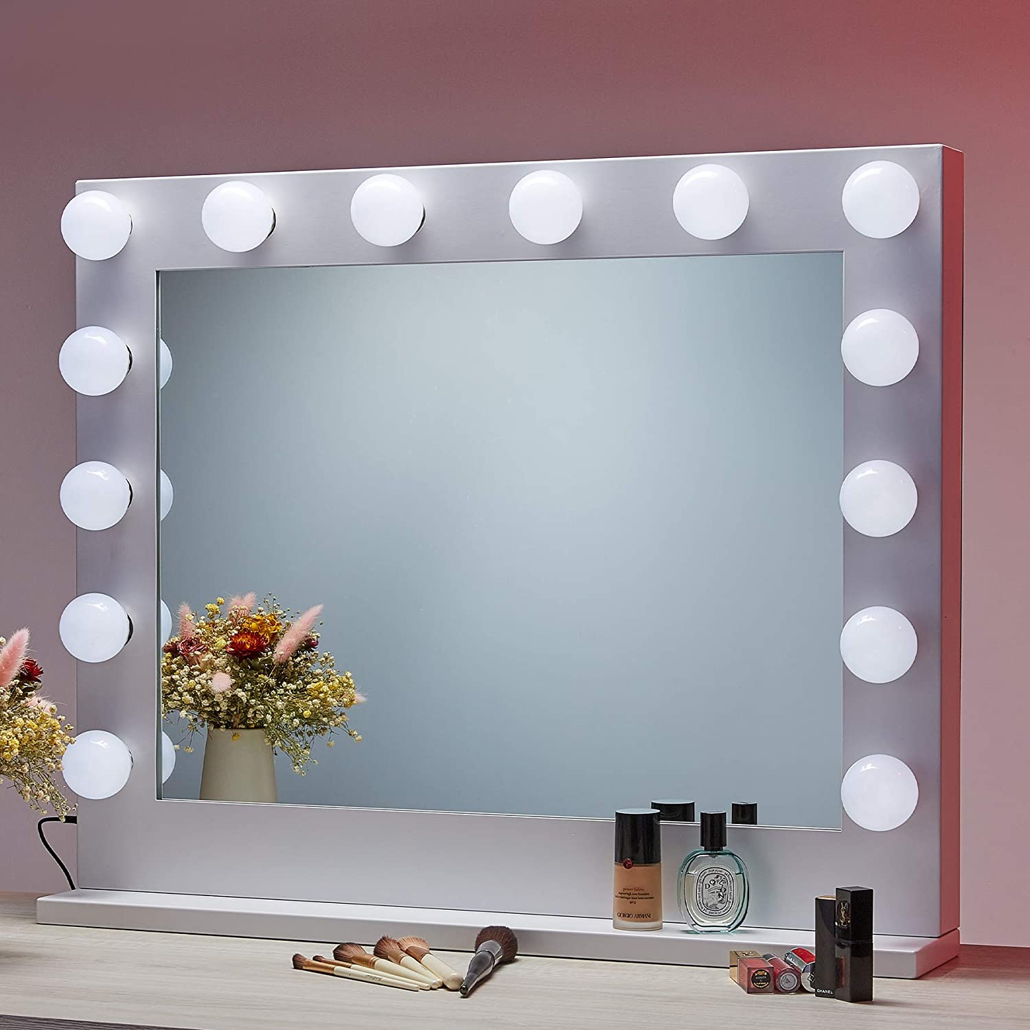 CO-Z Max 81% OFF 31 Kansas City Mall x 25'' Hollywood Makeup Whi Lights with Dimmable Mirror