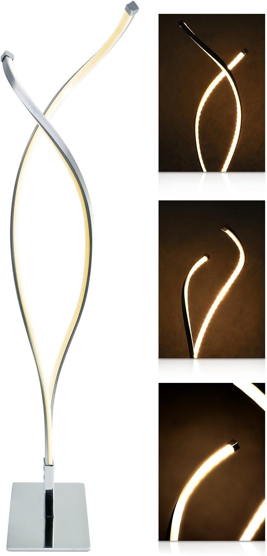 LED Universum LED Tischlampe Lilly  – Tischleuchte mit modernem Design - warmweies Licht (3000K), 9W, Edelstahl matt gebürstet, inklusive Dimmer und Fernbedienung