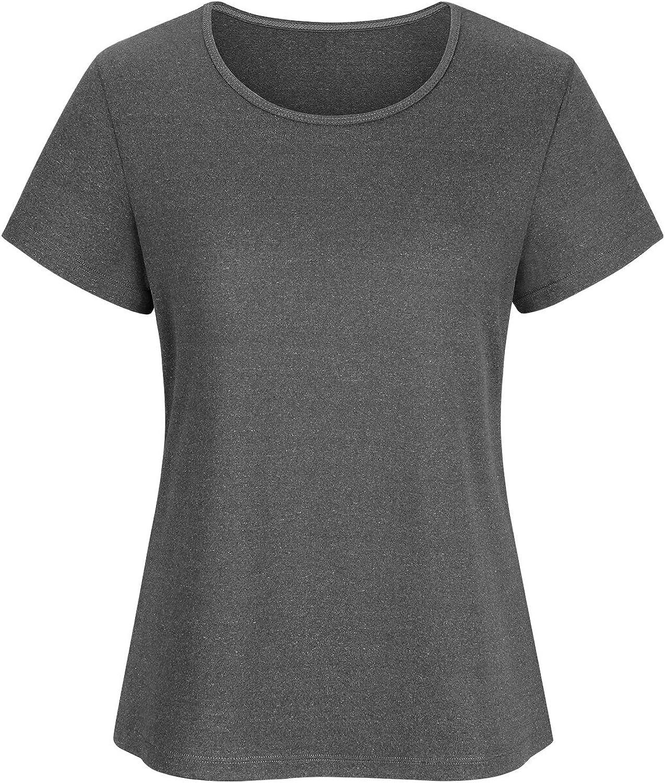DKKK Women's Round Neck Short Sleeve Casual Shirt Sport Tunics Blouse Tops