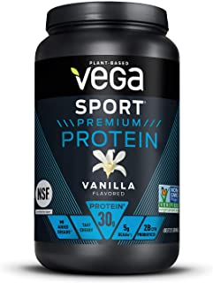 Vega Sport Premium Protein Powder, Vanilla, Plant Based Protein Powder Post Workout - Certified...