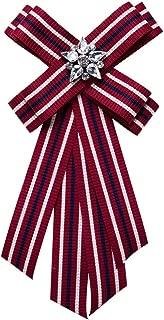Women Brooch Pin Necktie Preppy Style with Stripe Ribbon Bowknot Pre-Tied Bowties