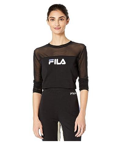 Fila Carole Long Sleeve Top (Black/White/Marlin) Women