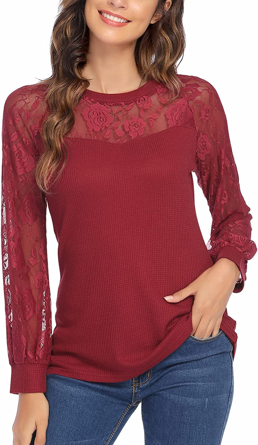 Leaduty Womens Lace Long Sleeve Tops Crew Neck Casual Loose Blouses Knit T Shirt