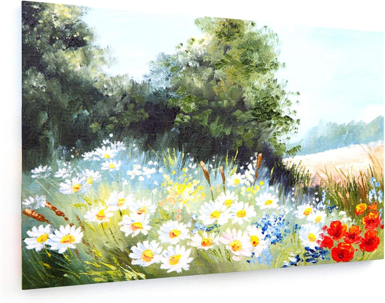 Maksim Gorbunov - - - Ölgemälde Landschaft - Wiese der Gänseblümchen, Natur - 120x80 cm - Leinwandbild auf Keilrahmen - Wand-Bild - Kunst, Gemälde, Foto, Bild auf Leinwand - Blaumen B07HMFDMVX 5abf70