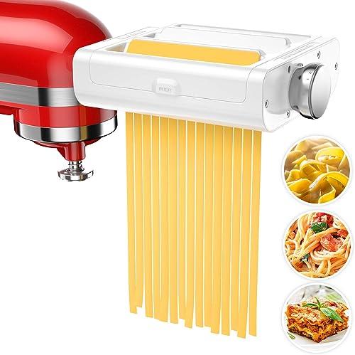 Pasta Maker Attachment for KitchenAid Stand Mixers, 3 in 1 Set Pasta Attachments includes Pasta Roller, Spaghetti &Fe...