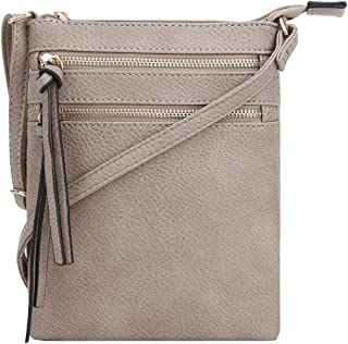 DELUXITY Essential Casual Functional Multi Pocket Double Zipper Crossbody Purse Bag for Women