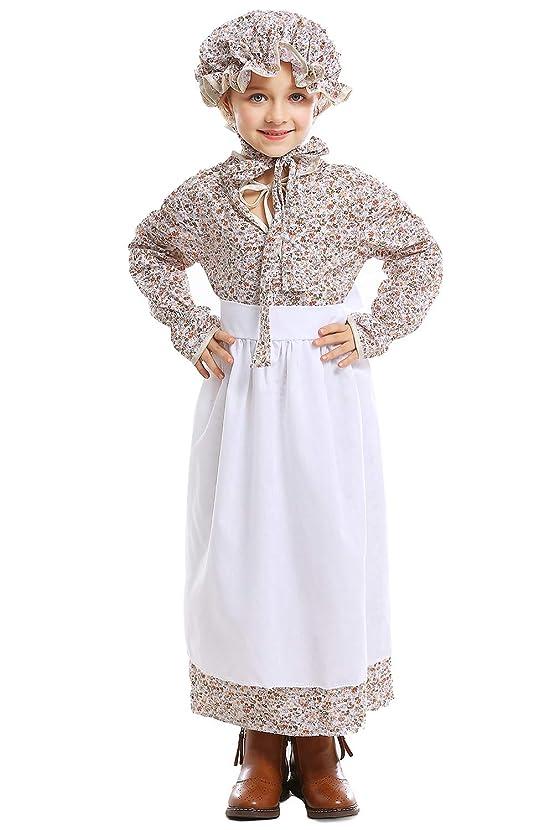 LANBOY Baby Girls Accompanying Maid Kid Rural Dress Halloween Cosplay Costume (S) White