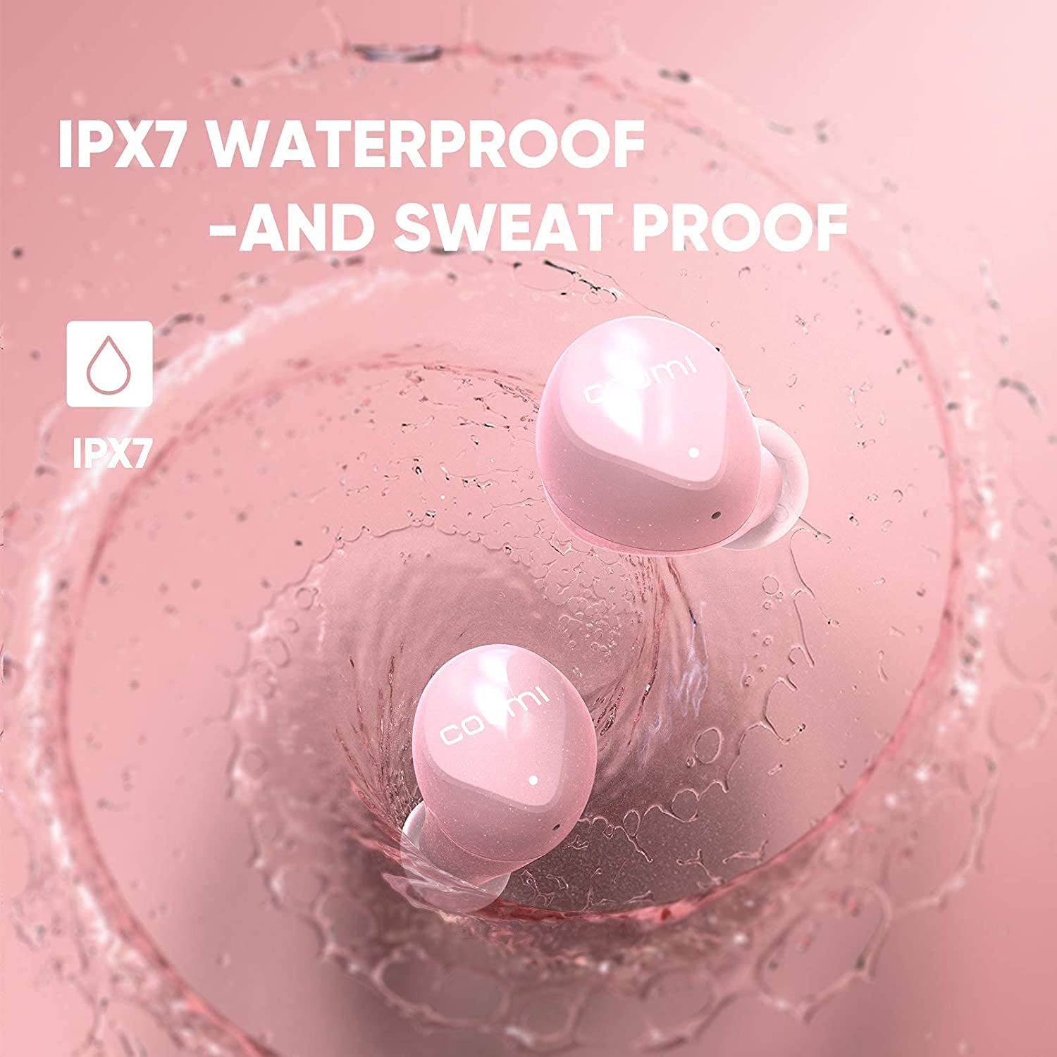 Wireless Earbuds,COUMI Bluetooth Earphones Stereo in-Ear Headphones Built-in Mic Headset Touch Control w/EQ,30 Hours Playtime w/Charging Case,IPX7 Waterproof for Running Workout,Pink