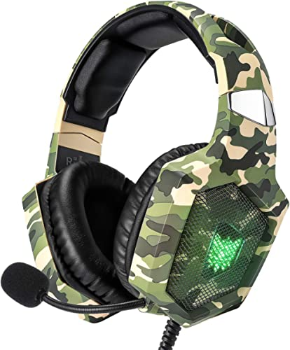 RUNMUS Gaming Headset for PS4, Xbox One, PC Headset w/Surround Sound, Noise Canceling Over Ear Headphones with Mic & ...
