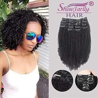 Afro Kinky Curly Clip ins Hair Extensions Human Hair,SHOWJARLLY 8Pcs/128g 8