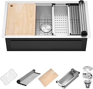 X Home 30 x 19 Inch Undermount Kitchen Sink Single Bowl, 16 Gauge Stainless Steel Kitchen Workstation Sink with All Sink Acce