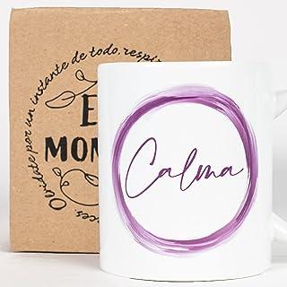 Taza Desayuno con Mensaje Calma_ Regalos Originales para Mujer_ Taza café Infusiones o Decoración Hogar en Cerámica de Cal...