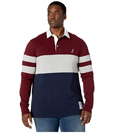 Nautica Big & Tall Big Tall Chest Stripe Rugby (Royal Burgundy) Men