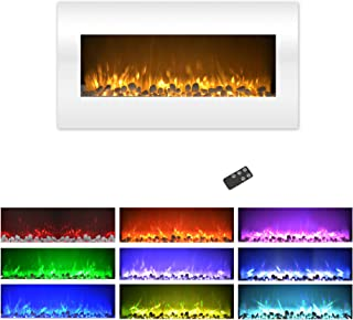Northwest Electric Fireplace Wall Mounted Color Changing LED Flame and Remote, 36