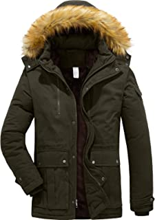 YXP Men's Winter Warm Thicken Coat Hooded Jacket Fleece Lined Parka