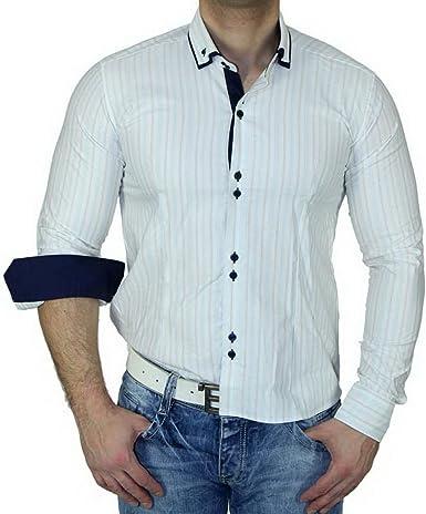 zioss Slim Fit doble cuello Contraste Camisa para hombre ...