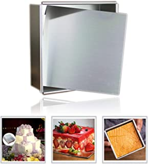 Anodized Aluminum Square Cheesecake Pan Chiffon Cake Mold Baking Mould with Removable Bottom 4 Inch x 4 inch x 2 inch