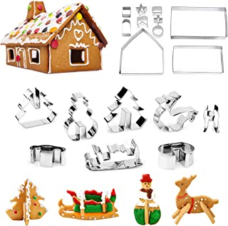 Christmas Cookie Cutters Set - Gingerbread House, Christmas Tree, Deer and Sled DIY Cookies Molds for Holiday,Halloween& Christmas - 18 Pcs Stainless Steel