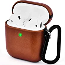 V-MORO Compatible with Airpods Case Genuine Leather Case for Airpods 2 & 1 [Front LED Visible] Protective Cover Skin Brown