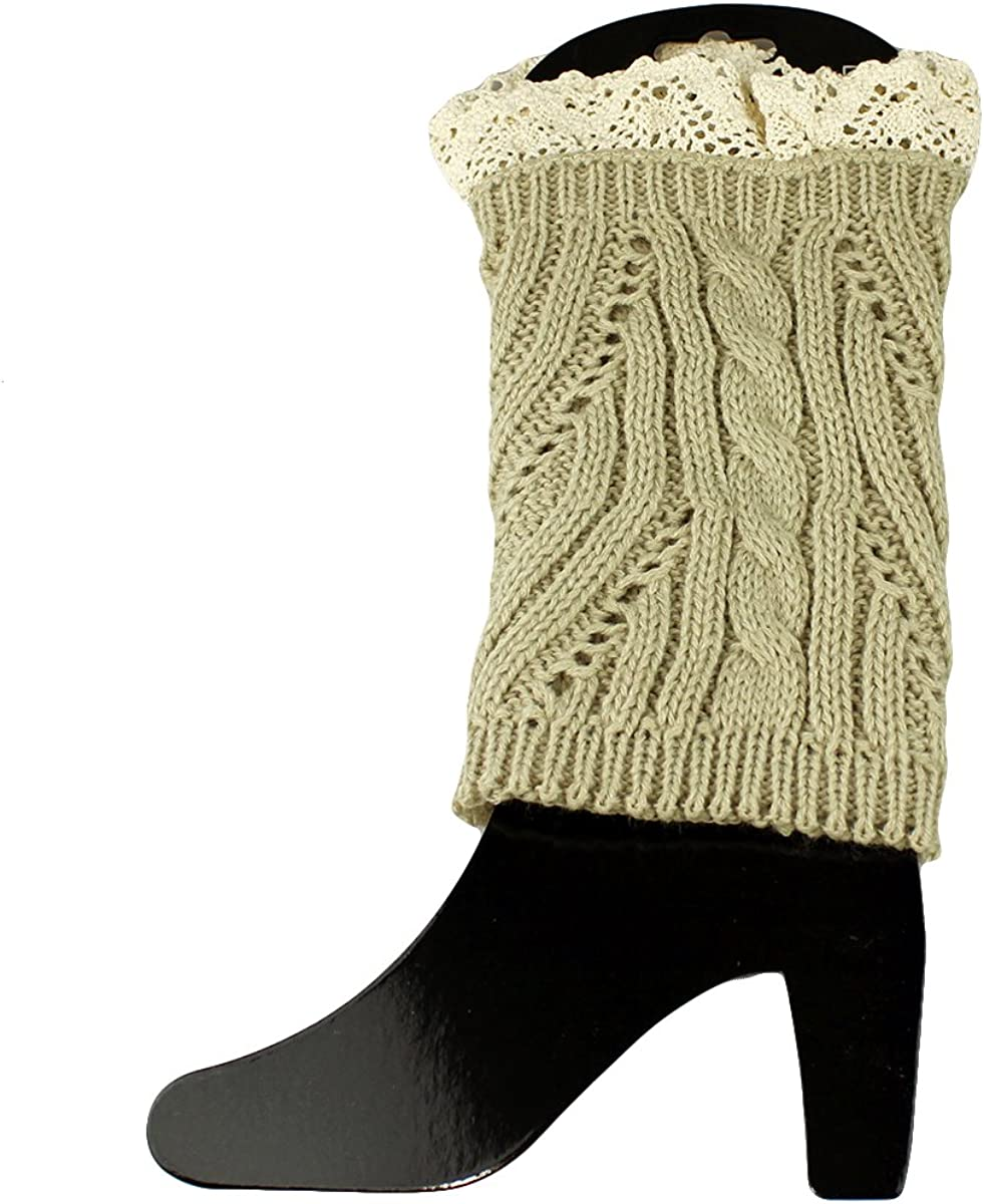 Knit Boot Cuff Topper Liner Leg Warmer With Lace Trim Mixed Pattern