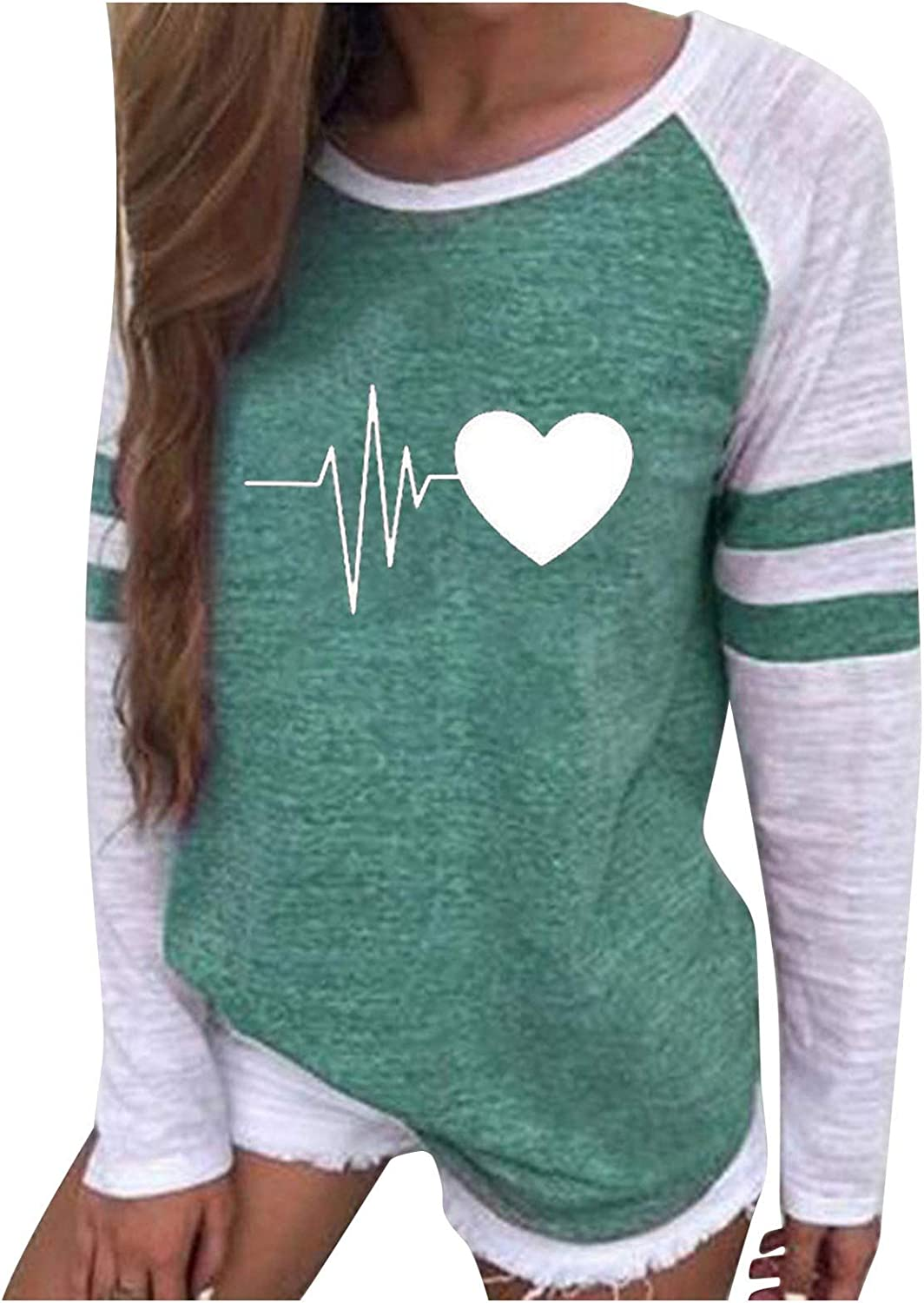 Shirts for 100% quality warranty Women Dressy Casual Long-awaited Long Tees Heart Sleeve Graphic St
